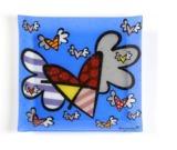 Romero Britto - Square Glass Plate - Flying Heart