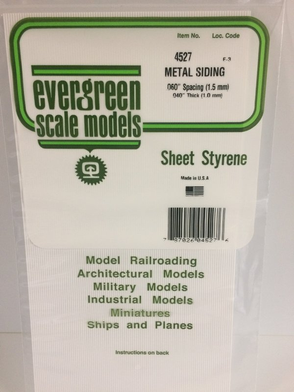 Evergreen Styrene Siding 15X29cm X1 mm 1.5 mmsp