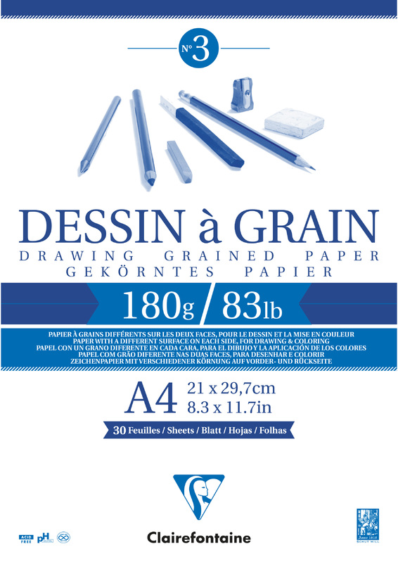 Clairefontaine: Dessin a Grain Glued A4 Sketch Pad - 180g 30 Sheets