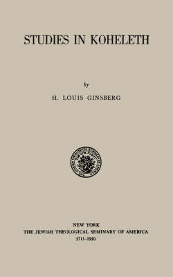 Studies in Kohelet by H. Louis Ginsberg image