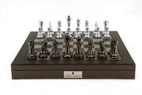 "Dal Rossi: Lockable Chess Set - 20"" Game Board (Carbon Fibre)"