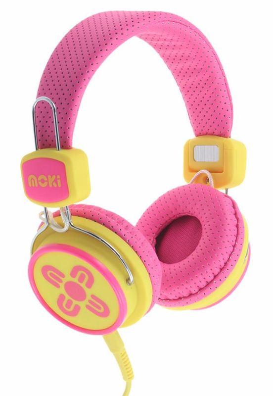 Moki Kids Safe Headphones - Pink/Yellow