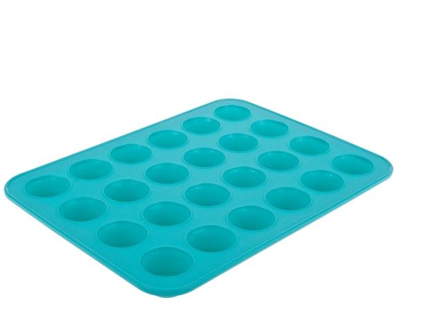 Silicone 24 Cup Mini Muffin Pan 32.5 X 24.5 X 2.75cm Turquoise