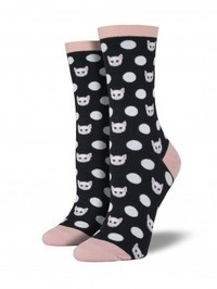 Womens Meow Ka Dots Socks - Black