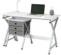 Brenton X Cross Desk & Filing Unit - White