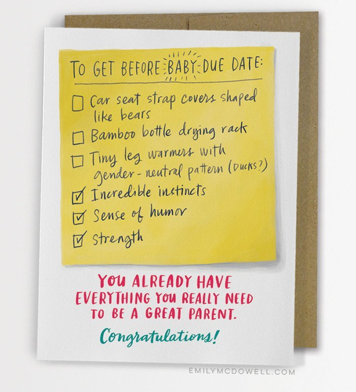 Emily McDowell: Due Date Checklist Baby - Greeting Card image