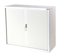 Proceed 3 Tier Tambour with 2 Shelves - W900mm x D500mmx H1020mm (White)