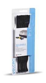 VELCRO Brand Hook & Loop Reusable Cable Ties 5 x 200mm Black