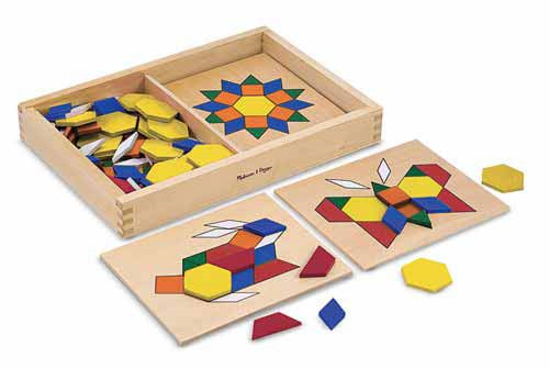 Melissa & Doug: Wooden Pattern Blocks and Boards image