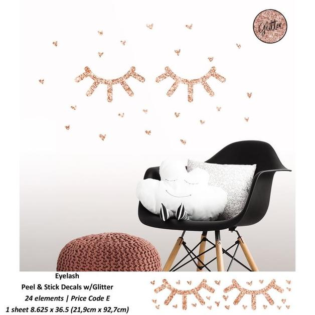 Room Mates: Eyelash Peel and Stick Wall Decals with Glitter