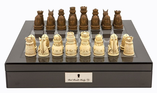 "Dal Rossi: Medieval - 16"" Resin Chess Set (Carbon Fibre)"
