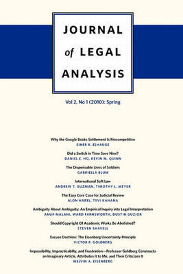 Journal of Legal Analysis: 2010: v. 2, No. 1: Spring by J.Mark Ramseyer image