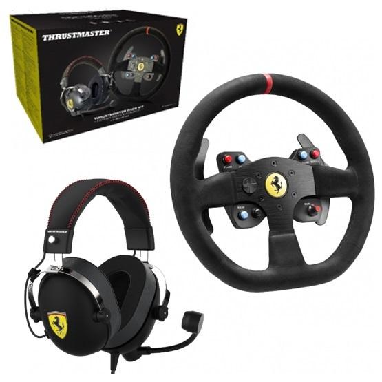 Thrustmaster Ferrari 599xx Evo Wheel + T Racing Ferrari Alcantara Headset Bundle (PS4, PS3, Xbox One & PC) for PS4