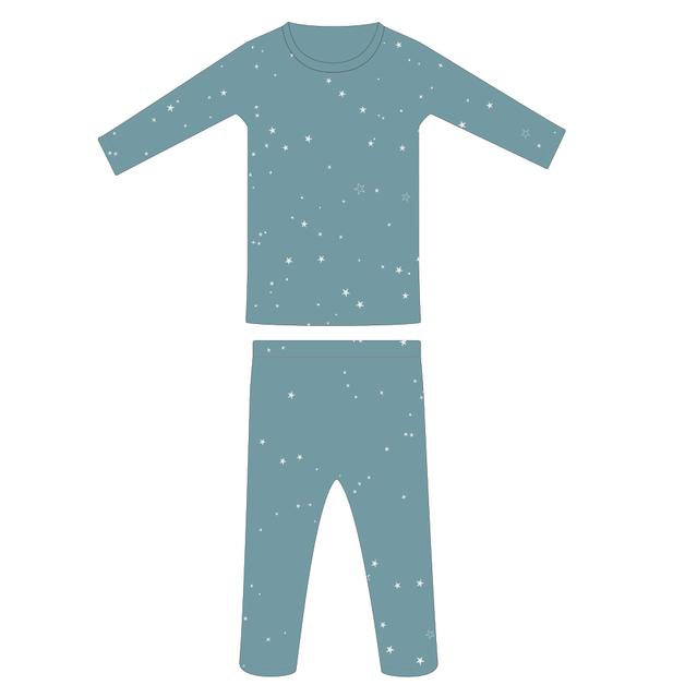 Woolbabe: Merino/Organic Cotton Pyjamas Tide Stars - 1 Year