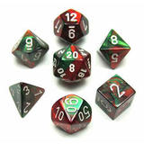 Chessex Gemini Polyhedral Dice Set Green-Red/White
