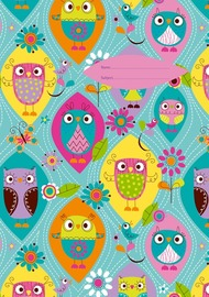 Spencil: A4 Book Cover - Happy Owls