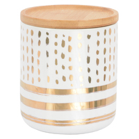 Marlo Canister with Wood Lid - Tiro Gold (Medium)