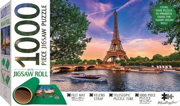 Mindbogglers: 1000-Piece Puzzle & Felt-Roll - Eiffel Tower, Paris, France