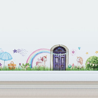 Unicorn Magical Village Wall Decal