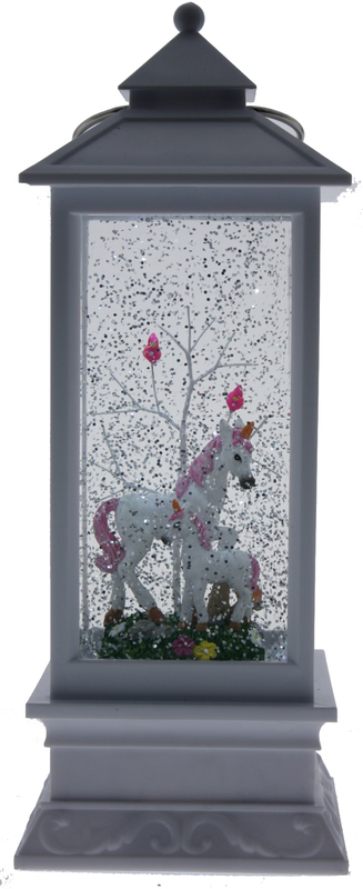 Cotton Candy: White Lantern with Unicorn and Baby