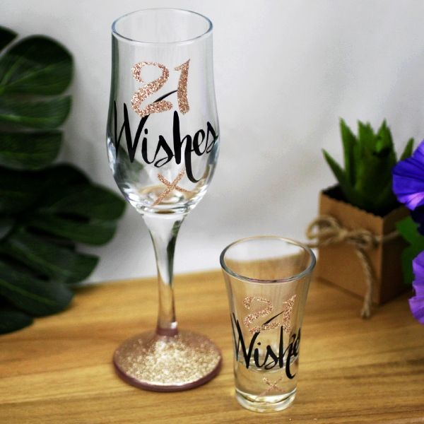 Wishes: 21 Wishes Rose Gold Flute & Shot Glass Gift set