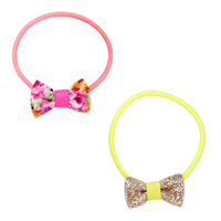 Pink Poppy: Fluro Mini-Bow - Hair Elastic (Assorted Designs)