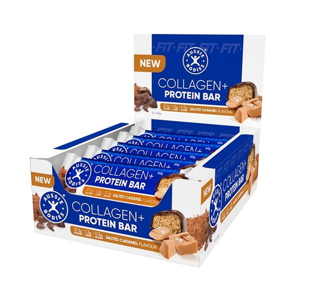 Aussie Bodies Collagen Protein Bar - Salted Caramel (12x60g)