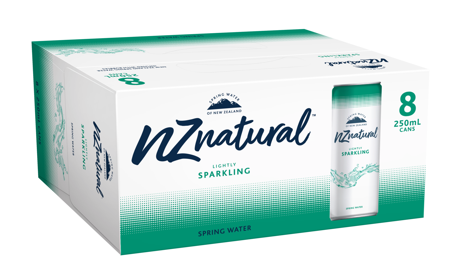 NZ Natural 250ml Sparkling Spring Water Cans (8 Pack) image