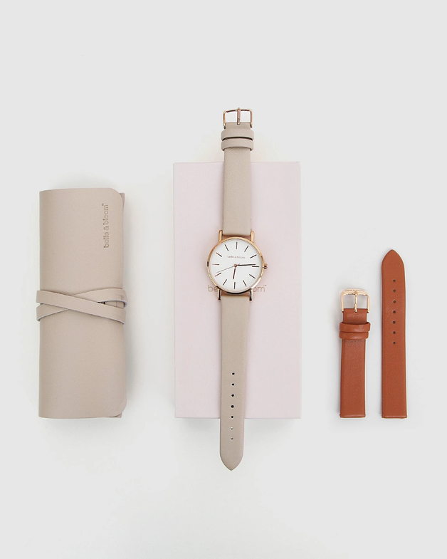 Belle and Bloom: Lafayette Love Watch Gift Set - Latte/Tan