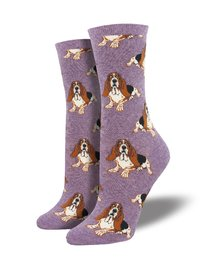 Womens - Heather Lavender Nothing But A Hound Dog Crew Socks