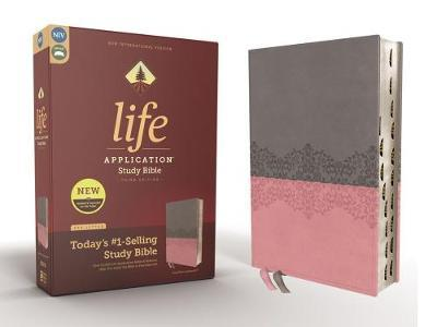 NIV, Life Application Study Bible, Third Edition, Leathersoft, Gray/Pink, Red Letter Edition, Thumb Indexed by Zondervan