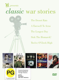 Classic War Stories (The Longest Day, Twelve O'clock High, A Farewell To Arms, Desert Rats, Sink The Bismarck) (5 Disc) on DVD image
