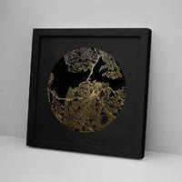 Auckland Mapscape Black on Black Foil Print - Framed