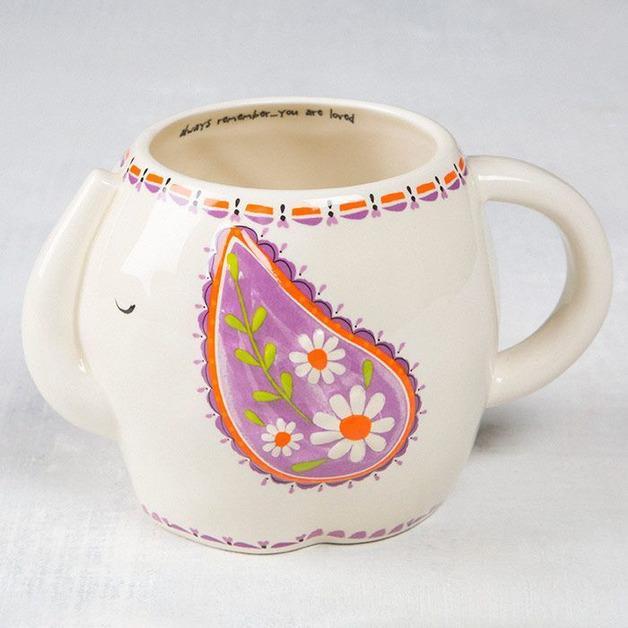 Natural Life: Ceramic Folk Mug - Remember Elephant