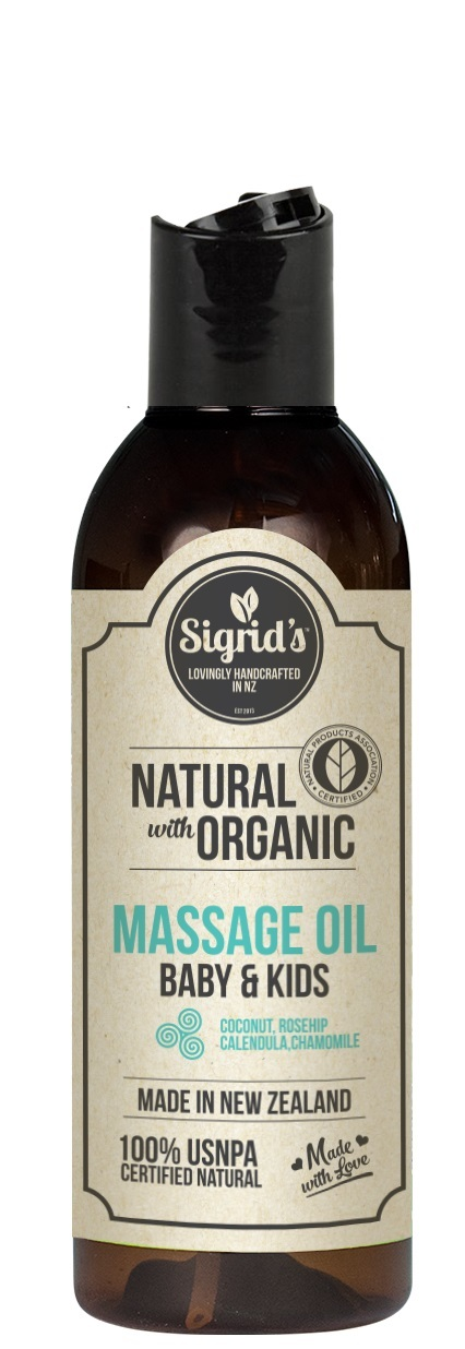 Sigrid's Natural Baby & Kids Massage Oil - Calendula, Chamomile, Rosehip (125ml) image