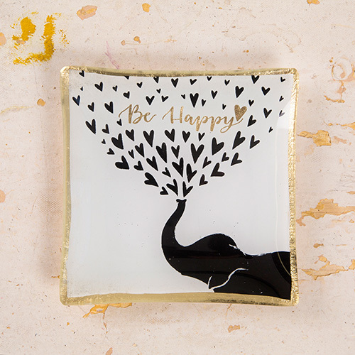 Natural Life: Square Glass Tray - Be Happy