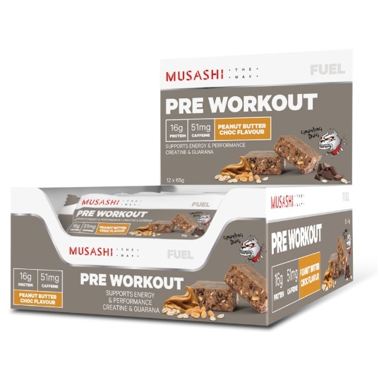 Musashi Pre-Workout Protein Bars - Peanut Butter Chocolate (Box of 12)