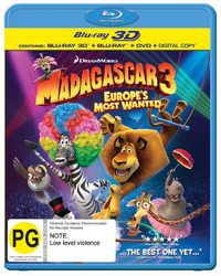 Madagascar 3: Europe's Most Wanted - 3D Superset on DVD, Blu-ray, 3D Blu-ray, DC image