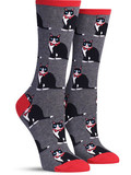 Womens Tuxedo Cats Socks - Grey