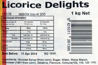 Rainbow Confectionery Licorice Delights Bulk Bag 1kg