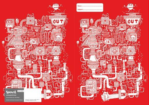 Spencil: A4 Book Cover - Red Maze