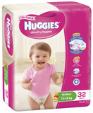 Huggies Nappies Bulk - Walker Girl 13-18kg (32)