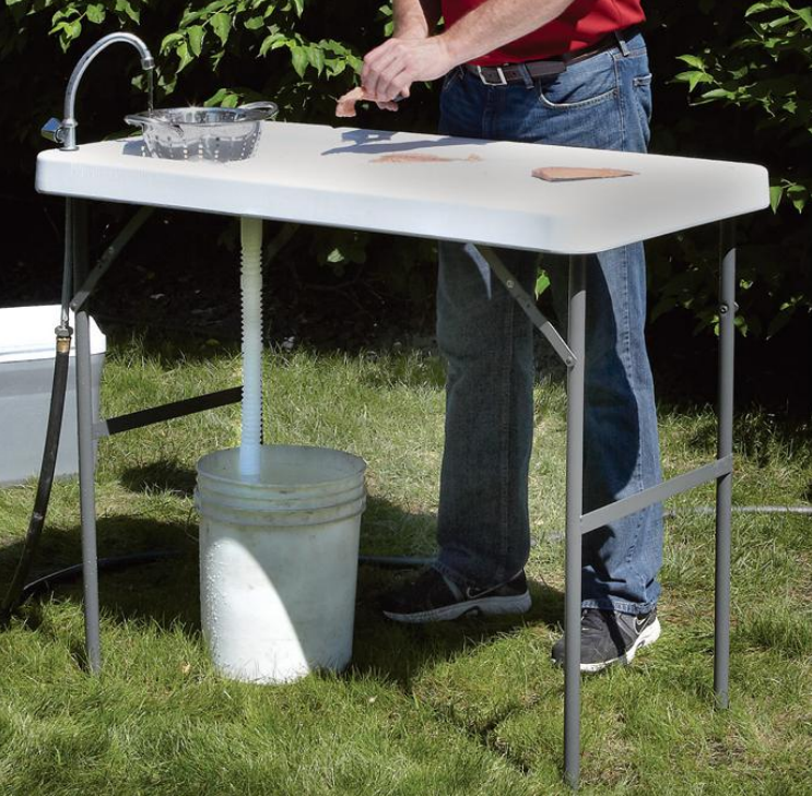 Foldable Fish Filleting and Camping Table with Tap image