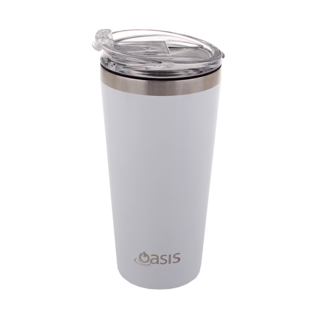 Oasis: Stainless Steel Insulated Travel Cup with Lid - White (480ml)