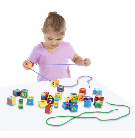 Melissa & Doug: Wooden Lacing Beads in a Box image