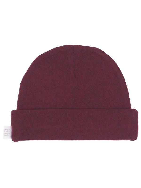 Babu: Merino Wool Hat - Burgundy (New Born)