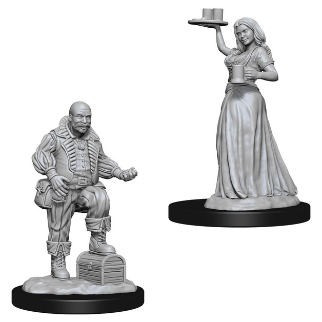 Pathfinder Deep Cuts: Unpainted Miniatures - Merchants (Serving Girl/Merchant)