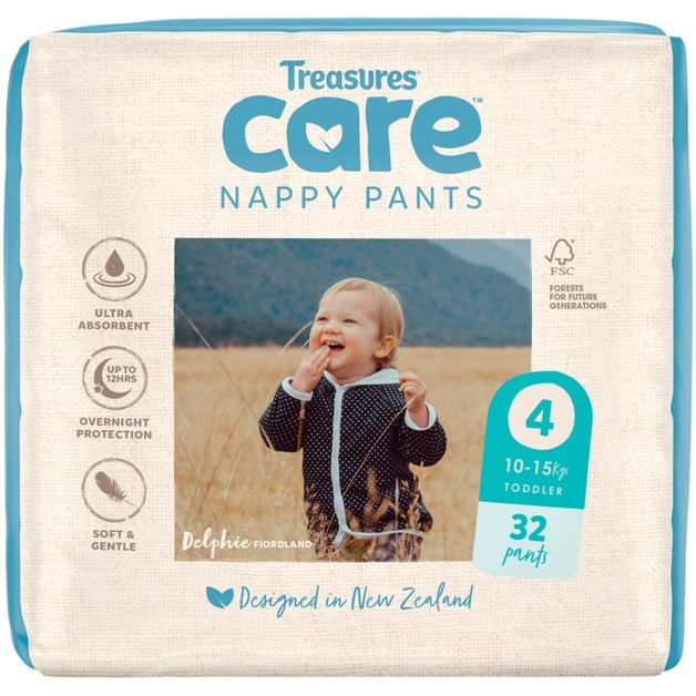Treasures: Care - Unisex Nappy Pants - 4: Toddler (32-pk)