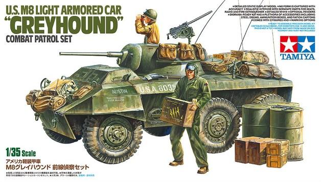 "Tamiya 1/35 U.S. M8 Light Armored Car ""Greyhound"" Combat Patrol Set - Model Kit"