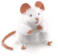 Folkmanis Hand Puppet - White Mouse